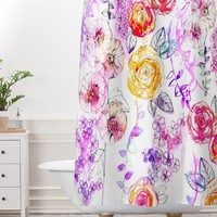 Holly Sharpe Pastel Rose Garden Shower Curtain And Mat