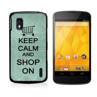 Keep Calm And Shop On Teal Floral Google Nexus 4 Case - For Nexus 4