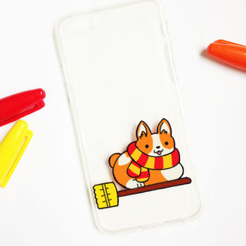 Hand painted Harry Potter phone case, iPhone 6 case clear, iPhone 6 case, iPhone 6s case, Corgi phone case, Samsung Galaxy S7 Edge Case