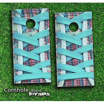 Turquoise Laced Converse Shoe Skin-set for a pair of Cornhole Boards