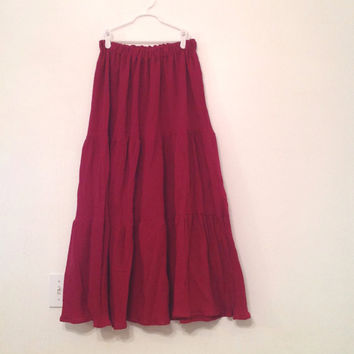 Bohemian Long Tiered Skirt - Red Hippie Summer Cotton Gauze Skirt