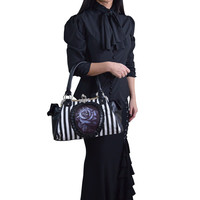 Restyle Victorian Romance Gothic Striped Black Rose Cameo Kisslock Handbag