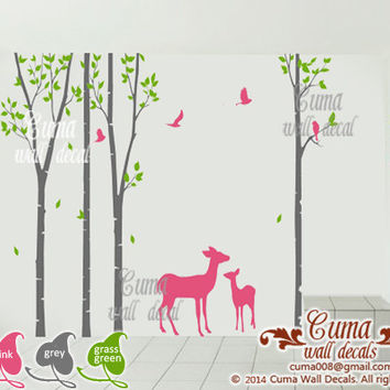birch tree wall decals deer wall decals Nursery vinyl wall decal birds forest-tree birds in forest Z107 by cuma