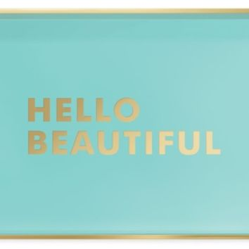 Hello Beautiful Tray in Aqua and Gold