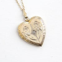 Vintage Gold Wash Over Sterling Diamond Heart Locket Necklace- 1940s WWII Era Sweetheart Flower Etched Jewelry