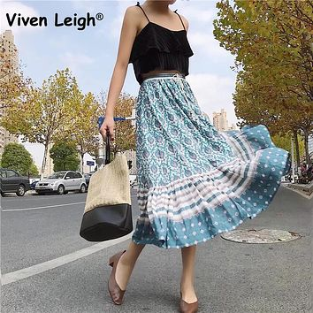 Viven Leigh Elegant Gypsy Oracle Printed Skirts Bohemian Style 2018 Summer Women Boho Skirts Maxi Long High Waist Beach Skirt
