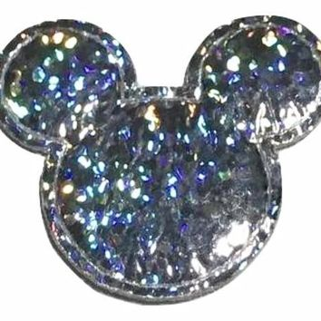 Silver holographic Minnie Mouse 30x25mm padded appliqué