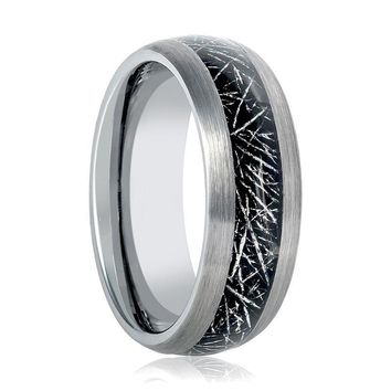 Aydins Mens Tungsten Wedding Band Ring w/ Black Meteorite Inay 8mm Tungsten Carbide
