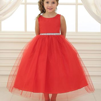 Red Satin and Tulle Flower Girl Dress