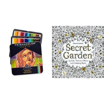 Secret Garden: An Inky Treasure Hunt and Coloring Book and Prismacolor Premier Soft Core Colored Pencil, Set of 48 Assorted Colors