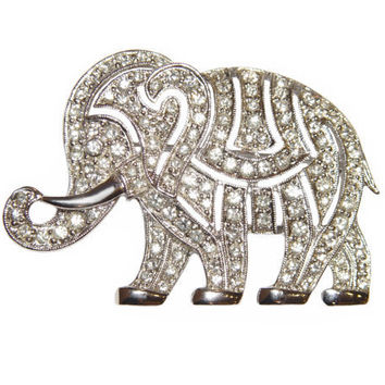 Hattie Carnegie Brooch, Elephant, Art Deco Rhinestone, Signed, Rare, Collectible
