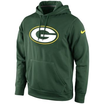 Mens Green Bay Packers Nike Green KO Logo Essential Hoodie