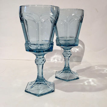 Fostoria Virginia Ice Blue Goblets | Set (2) Wine Glasses | Fostoria Virginia Pattern Stemware Glasses | Light Blue Wedding Toasting Glasses