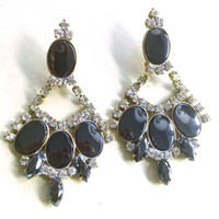 Faux Hematite Rhinestone Earrings Brides Wedding Statement Fashion Party Jewelry