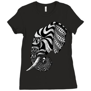elephant ornate Ladies Fitted T-Shirt