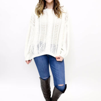 Ivory Textured Cable Knit Sweater