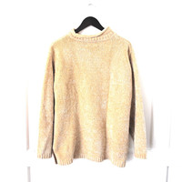 neutral VELVET knit turtle sweater neck 90s vintage GRUNGE relaxed fit pull over turtleneck tan MINIMALIST jumper