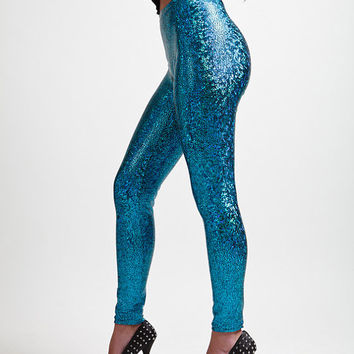 Turquoise Dragon Skin Holographic Super High Rise Leggings