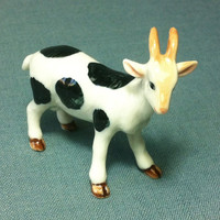 Miniature Ceramic Goat Funny Farm Animal Cute Little Tiny Small White Black Figure Figurine Statue Decoration Collectible Hand Painted Craft