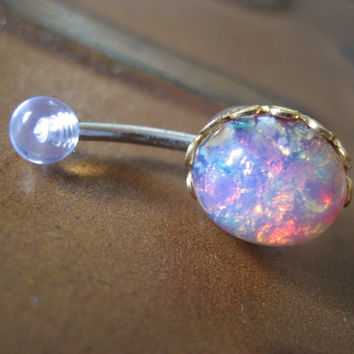 Pink Opal Belly Button Jewelry Stud Ring Navel by Azeetadesigns
