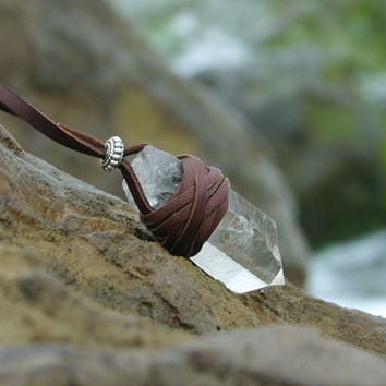 Boho Leather Wrapped Quartz Healing Crystal Necklace by Echoz Crystals