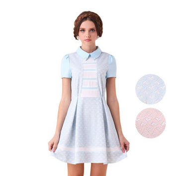Casual Doll Collar Embroidered Pleated Mini Dress