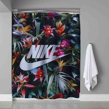 Nike Floral Custom Shower Curtain Waterproof High Quality Extra Long 60 x 72