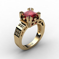 Modern Vintage 14K Yellow Gold 2.0 Carat Princess Ruby Diamond Solitaire Ring R1023-14KYGDR