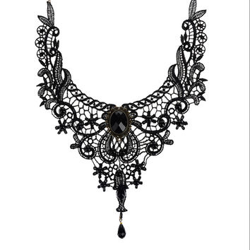 Gothic Collar Lace Necklace For Wedding Party Black Lace  Beads H made Short Choker Victorian Steampunk Style SM6