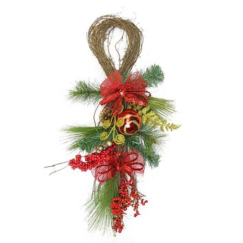 "26"" Red Ornament and Berry Gold Glittered Artificial Christmas Wreath Unlit"