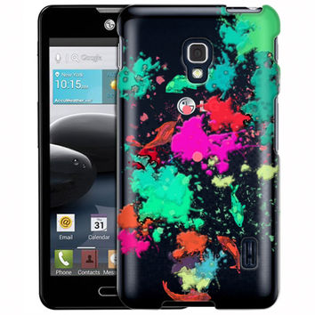 LG Optimus F6 Abstract Paint with Fish Clear Case