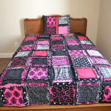 Rag Quilt, QUEEN SIZE Duvet Bedding, Pink Zebra Blanket, Made to Order