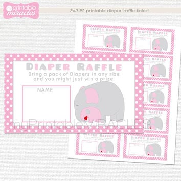 Elephant baby shower diaper raffle ticket, Instant download printable diaper raffle, Pink and gray diaper raffle insert card
