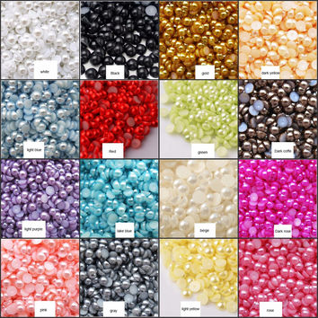 k025 10000pcs Half Round Bead Flat Back Acrylic Pearl Scrapbooking Embellishment Craft 3mm