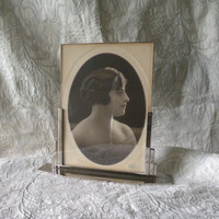 French art deco photo frame, vintage photo frame, art deco, chrome photo frame, deco photo frame, Paris apartment, French photo frame,