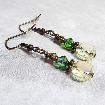 Yellow and Green Drop Earrings Beaded Dangle Antiqued Brass Womens Gift Made with Frosted Faceted Glass and Swarovski Crystals
