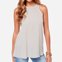Sleeveless Back One Button Chiffon Tank Top