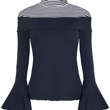 STRIPE JERSEY BELL SLEEVE TOP