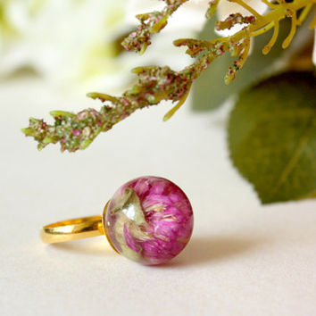 Red Flower Ring, Real Flower Jewelry, Resin Jewelry, Real Dried Flower Ring, Simple Gold Ring, Botanical Jewelry, Real Flower Rings