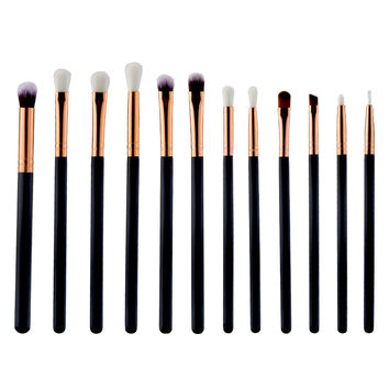 High quality 12 Pcs Eyeshadow Eyeliner Brush Blending Pencil Foundation Eye shadow Makeup Brushes Pink Black Brushes