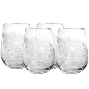 Rolf Glass Peacock Feather Stemless 17 oz. Wine Glass Tumbler (Set of 4)