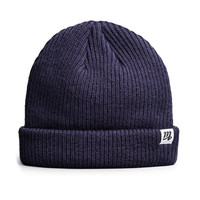 """M"" Fisherman Beanie (Navy)"