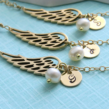 Set of 3 Angel Wing Bracelets with Initial Tag & Pearl in Gold fill, Personalized Jewelry, Bridesmaid Gift set, Custom Bracelet,