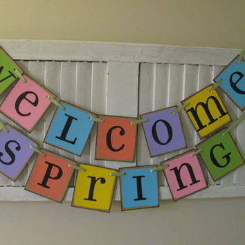 Welcome Spring Banner in Bright Pastel Colors Easter Garland Great Photo Prop