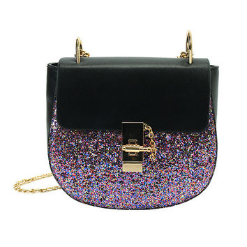 Chain Sequin Saddle  Bag Pu Leather Crossbody Shoulder Bags Handbags  Famous Brand Designer Purses Bolsas Female Small