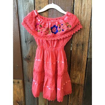 Mexican Campesino Dress for Girls Coral