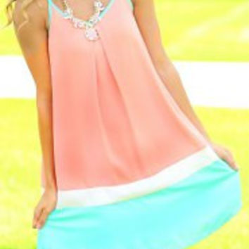 Pink and Blue Spaghetti Strap Chiffon Dress