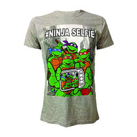 Teenage Mutant Ninja Turtles Men's  Selfie T-shirt Grey Rockabilia