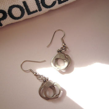 Handcuffs . handcuff earrings . fine pewter . 50 shades of grey . Barbie props . best friends . police officer . supply charms . play time