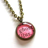 Limited Edition Halloween Hot Pink Neon Ghost Mini Pendant Librarian Brass Setting Library Card Necklace